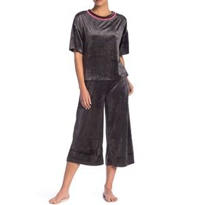 Crop Wide Leg Velvet Lounge Pants- Small